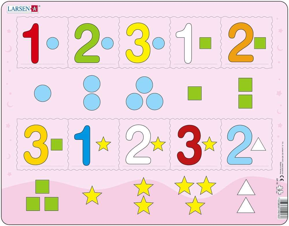 Larsen Rahmenpuzzle ``Die Zahlen von 1 bis 3`` - 10 Teile