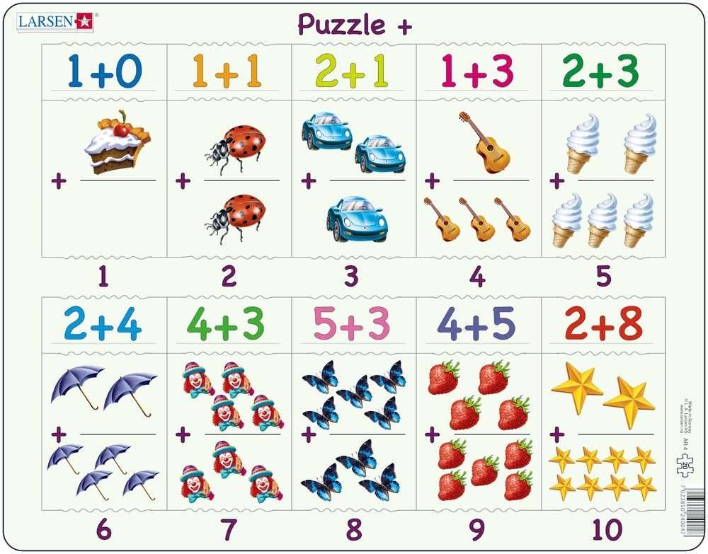 Larsen Rahmenpuzzle ``Mathematik: Addieren`` - 20 Teile