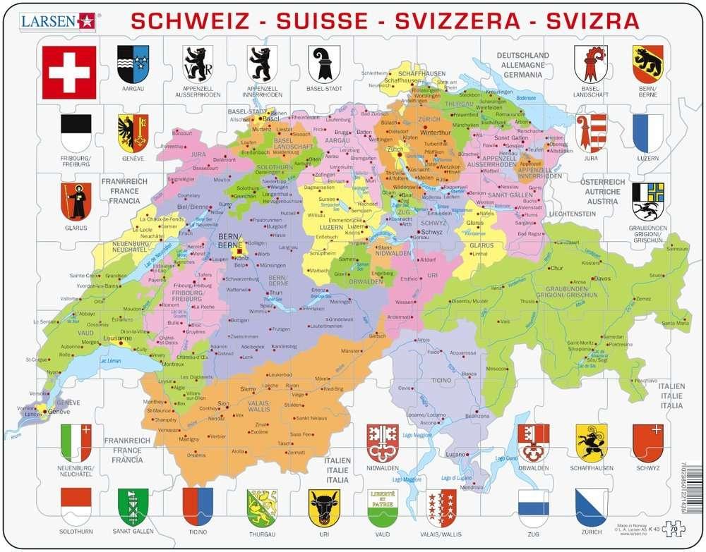 Larsen Rahmenpuzzle ``Die Schweiz`` - 70 Teile