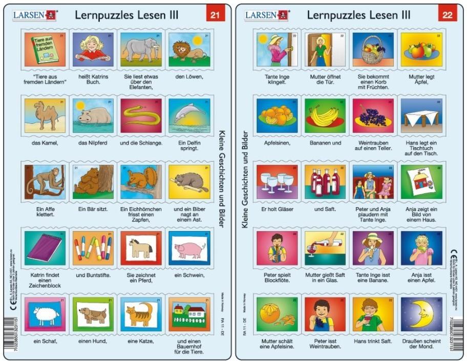 Larsen Rahmenpuzzle ``Lernpuzzles Lesen III`` - 10x20 Teile