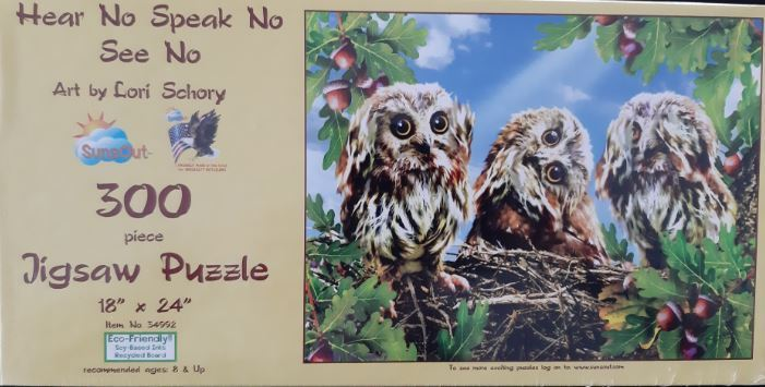 Hear No Speak No See No 300 Piece Jigsaw Puzzle by SunsOut