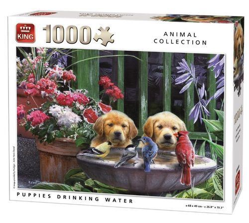 King - Puppies drinking Water - 1000 Teile