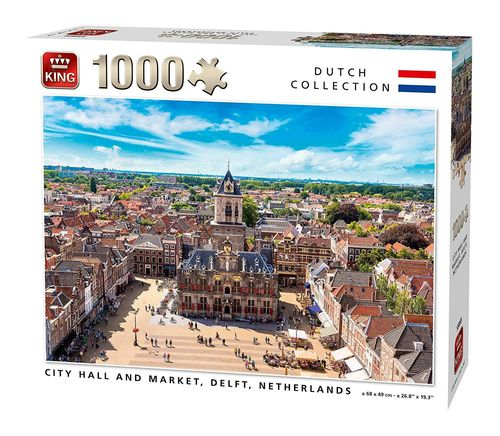 King - City Hall and Market, Delft, Niederlande - 1000 Teile