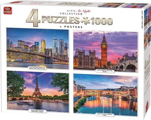 King - 4er-Set: City at Night Collection - 4x1000 Teile