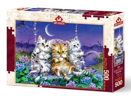 Art Puzzle - Moonlight Swing Kittens - 500 Teile