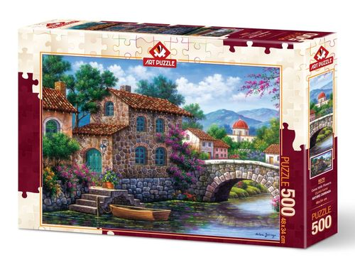 Art Puzzle - Canal with Flowers - 500 Teile